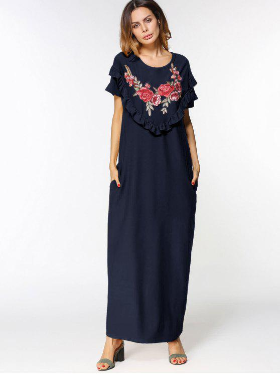 الكشكشة الزهور مطرز بقع فستان ماكسي - الأرجواني الأزرق L