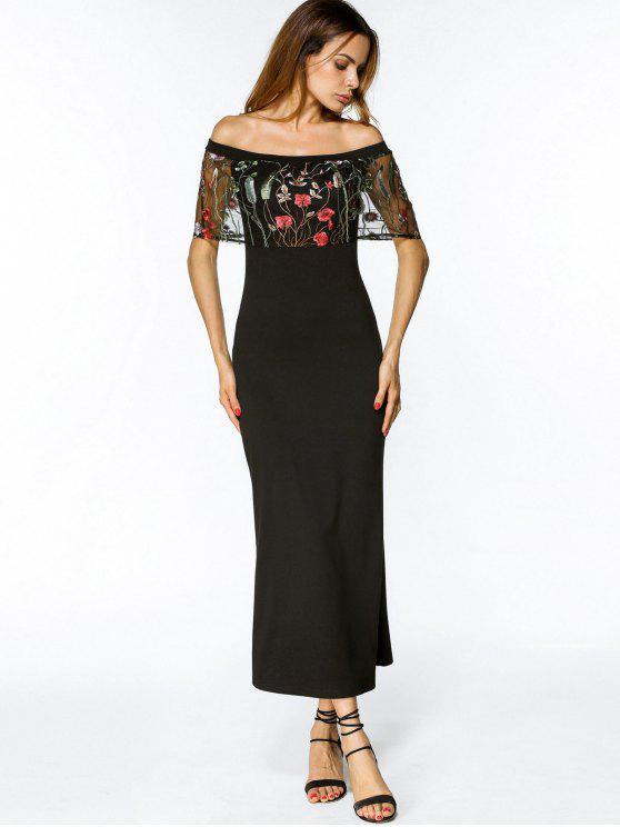 الزهور مطرزة تراكب قبالة الكتف ميدي اللباس - أسود XL