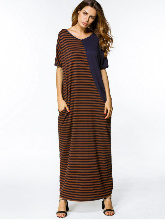 فستان ماكسي مخطط الرقبة V - شريط 2XL