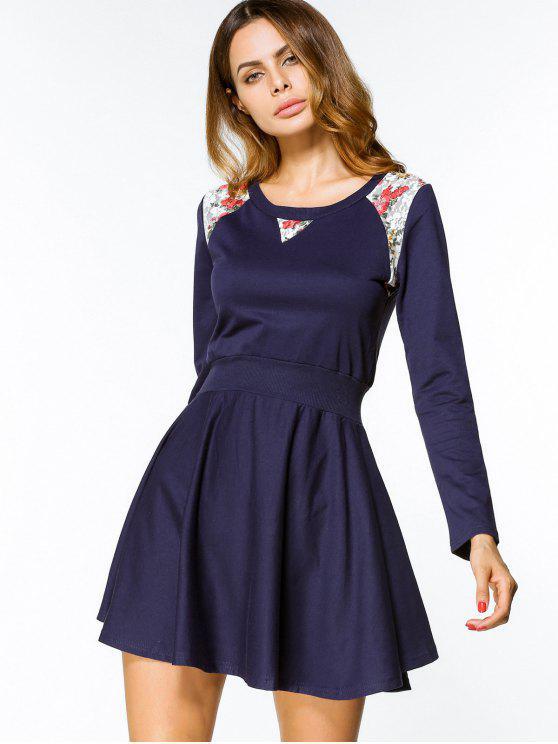 فستان مربوط طويلة الأكمام طباعة الأزهار مصغر - الأرجواني الأزرق L