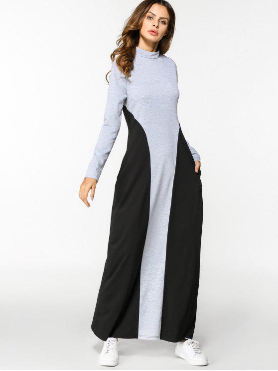 فستان طويلة الأكمام بأسلوبين ماكسي - أسود ورمادي 2XL