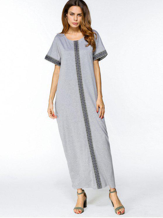 هندسية مطرزة تريم فستان ماكسي - رمادي XL
