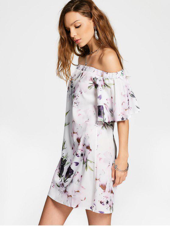 فستان طباعة الأزهار مستقيم بلا اكتاف - الأزهار XL