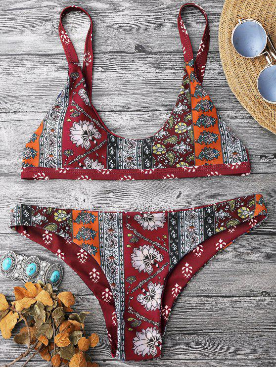 chic Patchwork Print Bralette Scoop Bikini Set - RED S