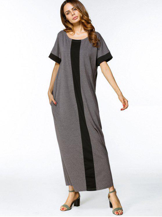 فستان فضفاض بأسلوبين ماكسي - أسود ورمادي 2XL