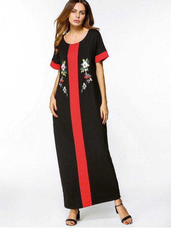 فستان بأسلوبين مطرز بالأزهار ماكسي - أسود 2XL