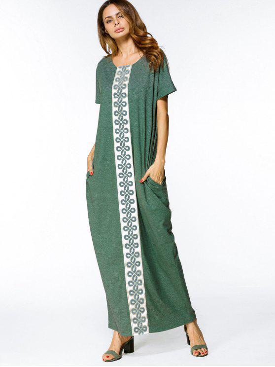 فستان فضفاض تريم ماكسي - أخضر L