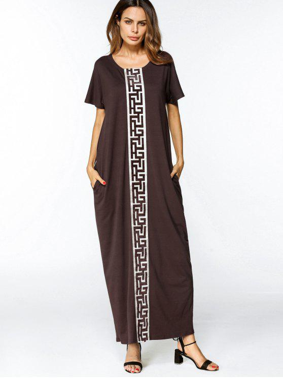 6100a1bf133d 34% OFF  2019 Loose Patches Trim Maxi Dress In COFFEE L