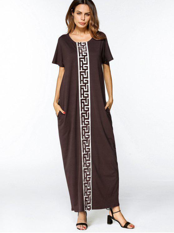 فستان فضفاض تريم ماكسي - قهوة 2XL