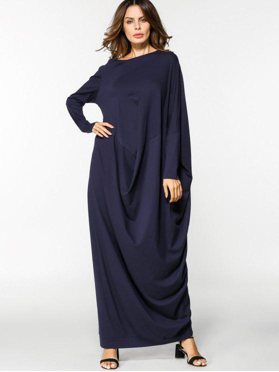 فستان فضفاض طويلة الأكمام ماكسي - الأرجواني الأزرق حجم واحد