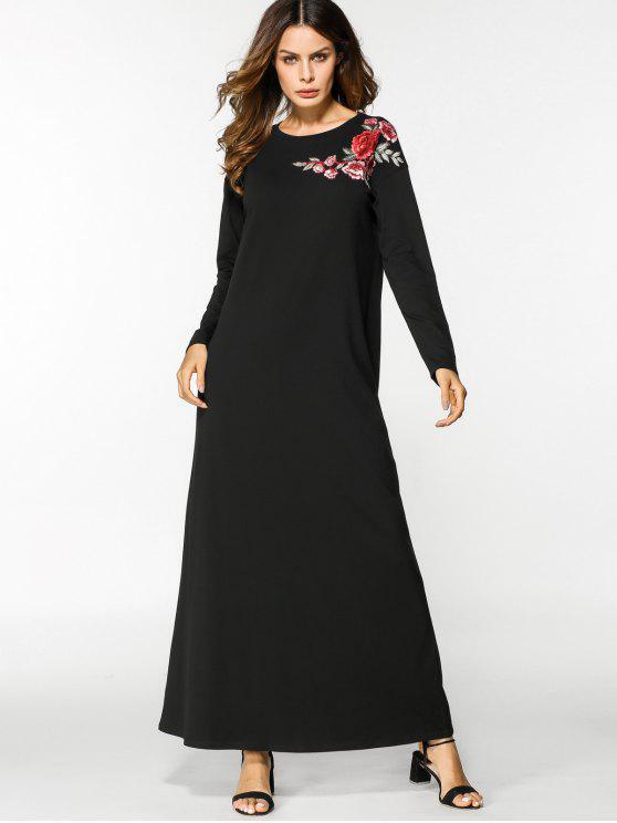 كم طويل الأزهار مطرز فستان ماكسي - أسود XL