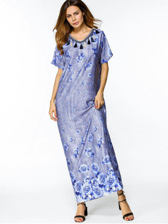 فضفاض الأزهار خمر فستان ماكسي - أزرق L