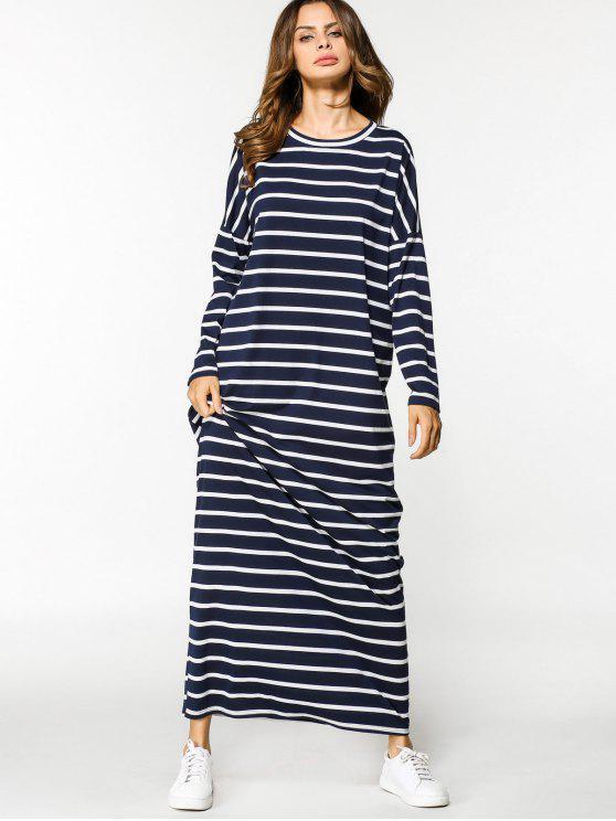 كم طويل عارضة المشارب فستان ماكسي - شريط XL