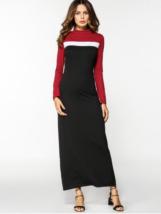 اللون كتلة طويلة الأكمام فستان ماكسي - Colormix M