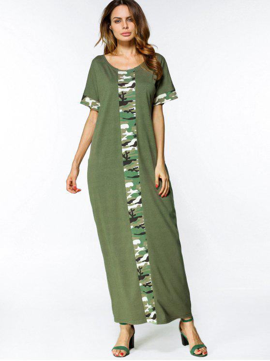 فضفاض التمويه لوحة فستان ماكسي - الجيش الأخضر XL