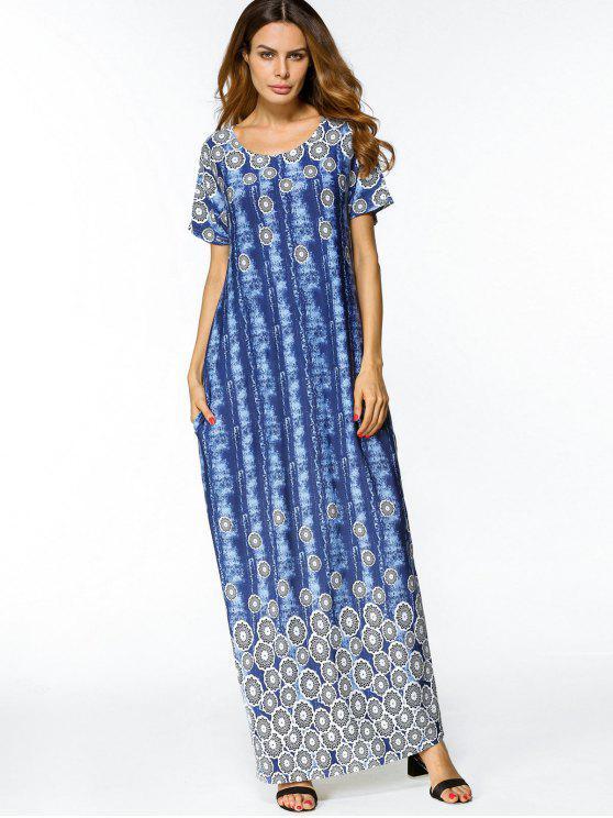 فستان طباعة انقسام مصبوغ التعادل ماكسي - أزرق L