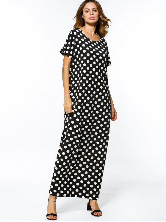 فستان ماكسي فضفاضة عارضة البولكا نقطة - أبيض وأسود 2XL