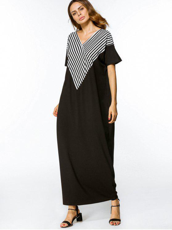 فستان مريح غير متماثل مخطط ماكسي - أبيض وأسود XL
