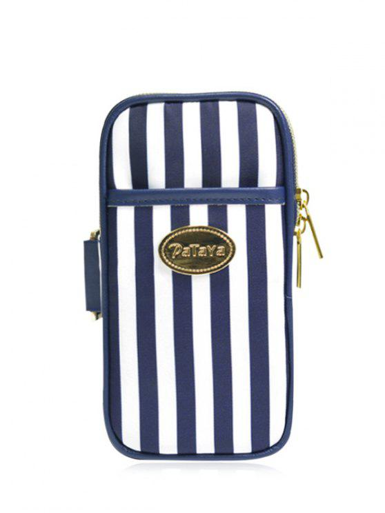 best Color Block Polyester Running Arm Bag - BLUE AND WHITE