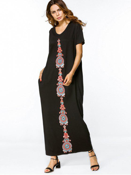 فستان فضفاض مطرز ماكسي - أسود L