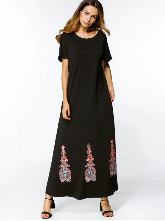 فستان مطرز ماكسي بخط A - أسود XL