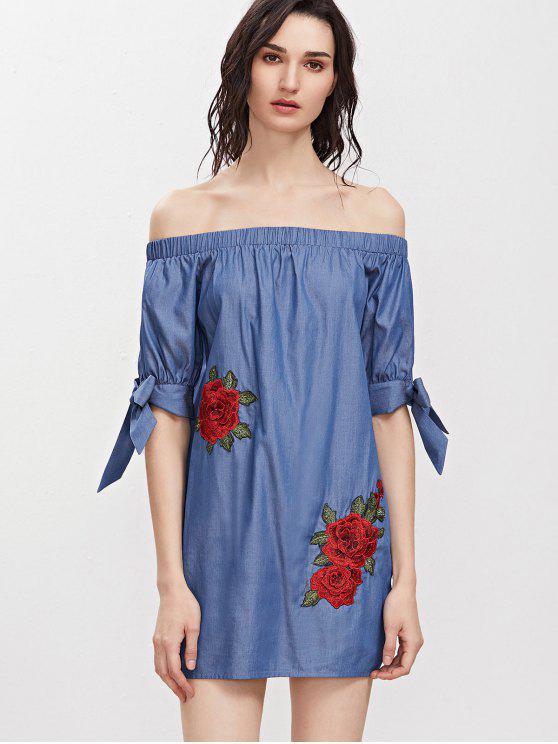 الأزهار التطريز قبالة الكتف اللباس مصغرة - ازرق M