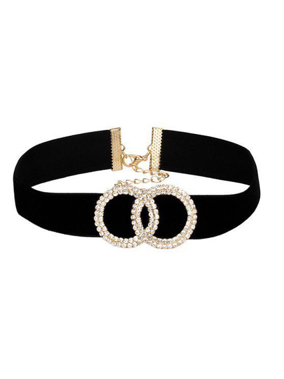 Collar de terciopelo ancho de círculo de diamantes de imitación - Negro