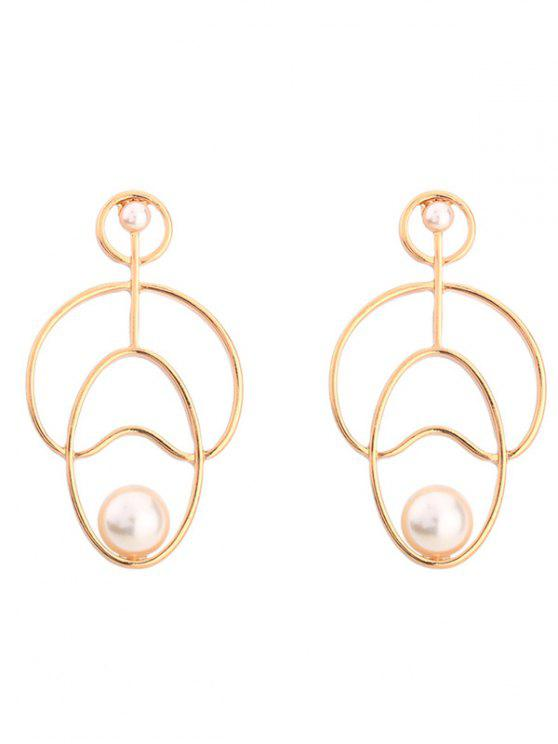 trendy Hollow Out Faux Pearl Stud Earrings - GOLDEN