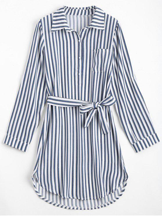 womens Belted Striped Long Sleeve Shirt Dress - DEEP BLUE L