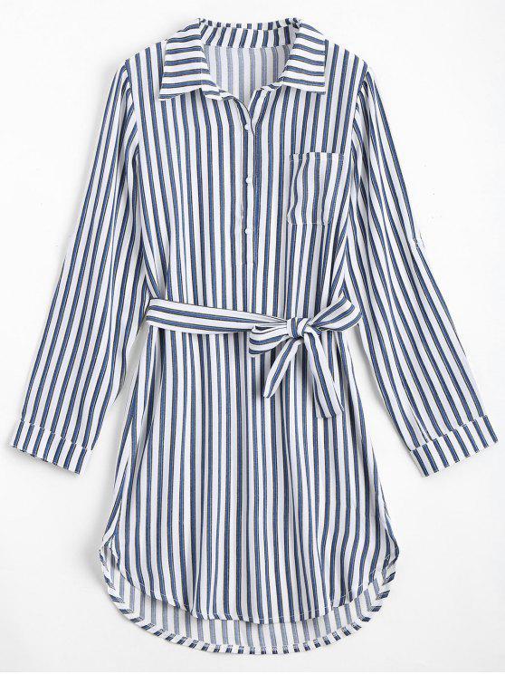 women's Belted Striped Long Sleeve Dress - DEEP BLUE XL