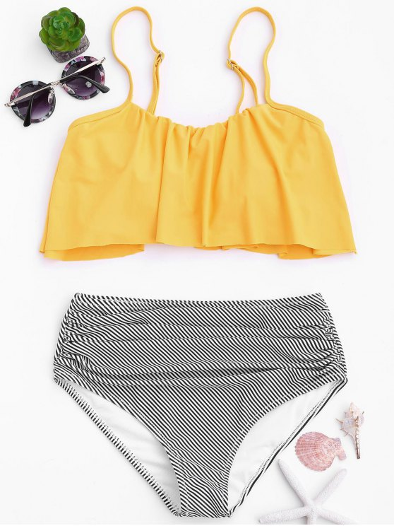outfit Stripe Panel High Waisted Bikini Set - YELLOW L
