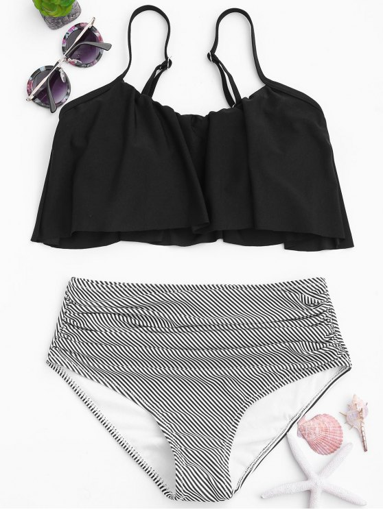 hot Stripe Panel High Waisted Bikini Set - BLACK S