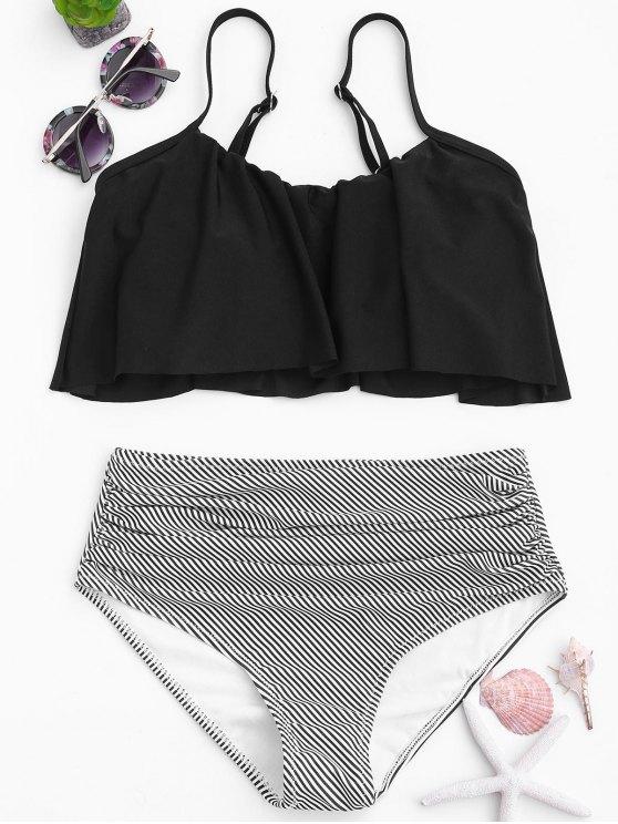 hot Stripe Panel High Waisted Bikini Set - BLACK S