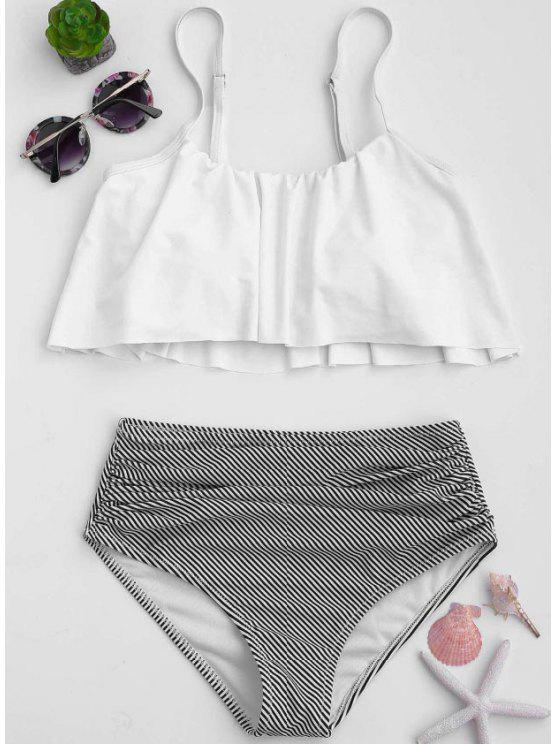 lady Stripe Panel High Waisted Bikini Set - WHITE M