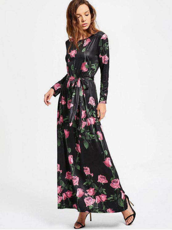 fashion Floral Long Sleeve Belted Maxi Dress - FLORAL XL