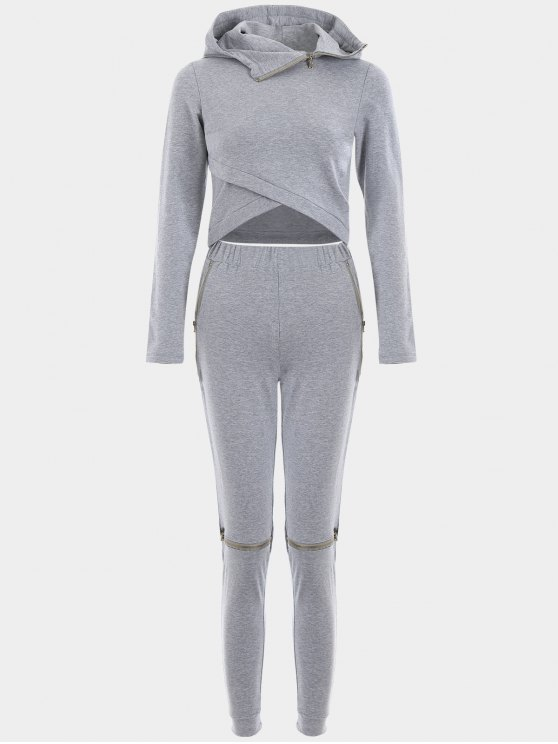 ladies Asymmetric Crossover Hoodie with Jogger Pants - GRAY L