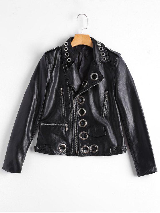 Anillo ahuecado, chaqueta de piel de imitación embellecida - Negro S