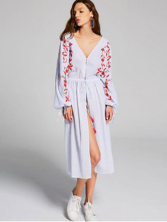 Robe Mi-longue Fendue Brodée à Rayures - Rayure M