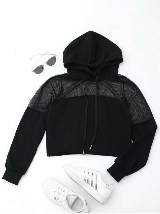 affordable Cropped Mesh Sports Hoodie - BLACK S