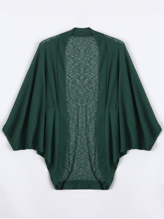women's Plus Size Semi Sheer Batwing Sleeve Collarless Top - DEEP GREEN 4XL