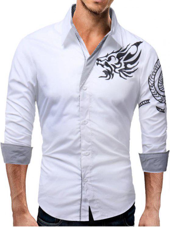 الحيوان الطوطم نمط شريط لوحة قميص - أبيض 2XL