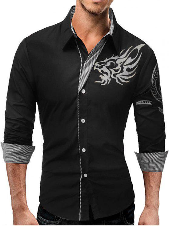 الحيوان الطوطم نمط شريط لوحة قميص - أسود 2XL