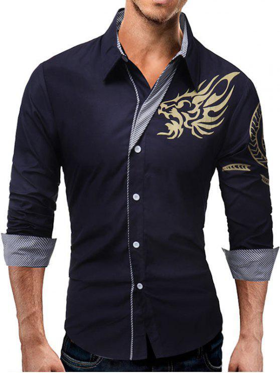 الحيوان الطوطم نمط شريط لوحة قميص - الأرجواني الأزرق XL