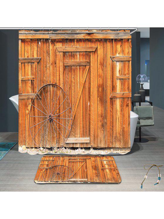 عجلة خشبية مجلس ماء دش الستار البساط مجموعة - البني الفاتح W71 بوصة * L71 بوصة
