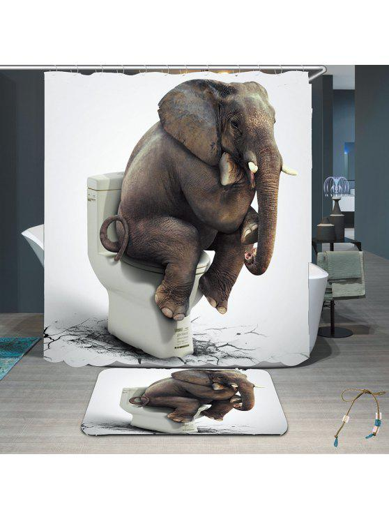 Elephant Toilet Pattern Waterproof Shower Curtain Rug Set GRAY ...