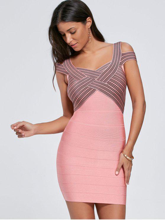 فستان ضيق مخطط كاب الأكمام ضمادة - زهري S