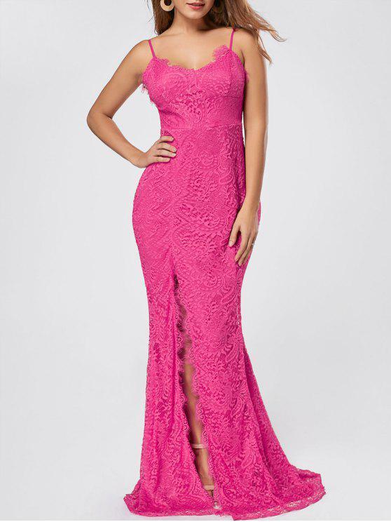فستان السهرة انقسام دانتيل مثير ماكسي - وردة حمراء XL