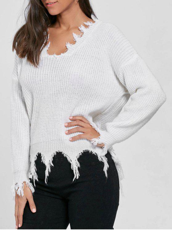 2b6385c0e1 32% OFF  2019 V Neck Knit Distressed Sweater In WHITE