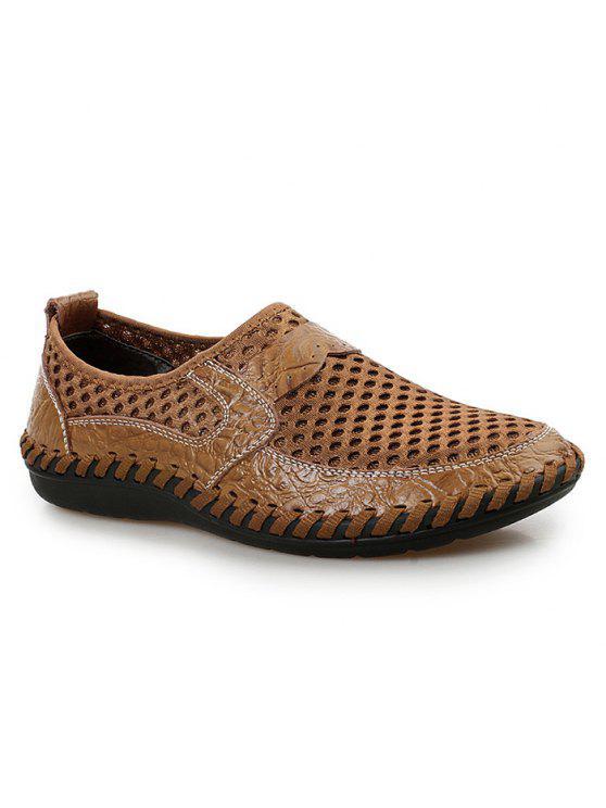 حذاء رياضي سهلة للارتداء قطع بجلد اصطناعي - BROWN 40