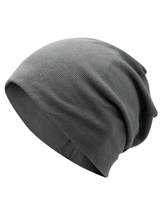 outfit Plain Fall Knitted Pinstriped Beanie Hat - DEEP GRAY